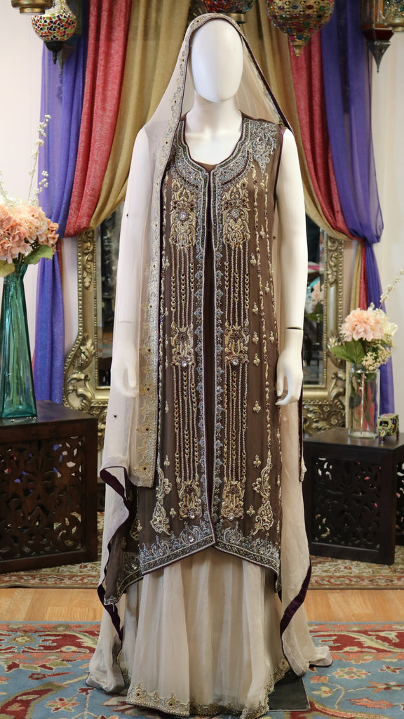 Brown & Cream Jacket Style with Zari & Dabka Work