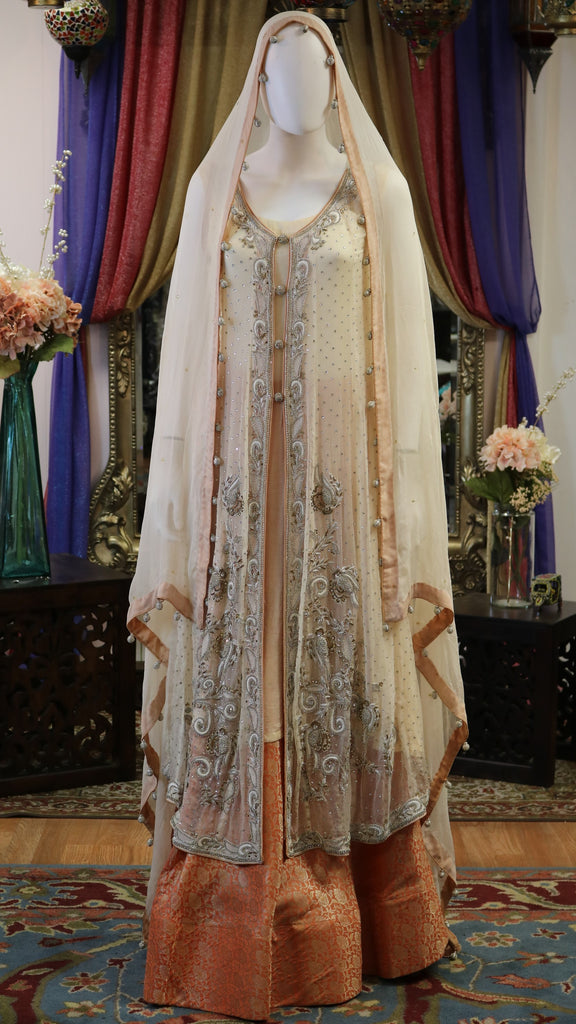 Cream & Orange with Silver Zari Style Jacket Style