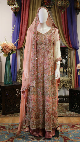 Peach Gold and Pink Maxi Lengha