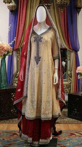 Tan & Maroon Lengha with Gold Dabka Work
