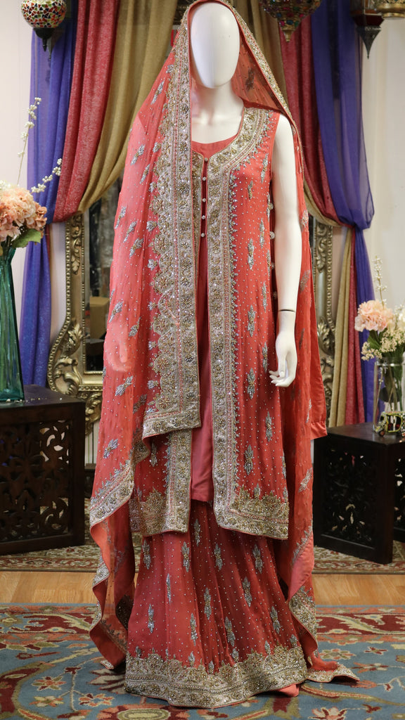 Vermillion Pink Lengha with Gold Zari Work