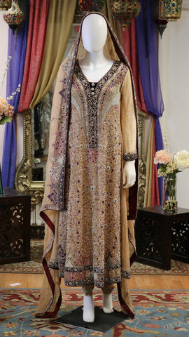 Tan & Maroon Lengha with Dabka Work