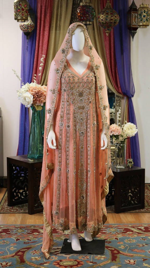 Gold and Bronze Zari & Stone Bridal Gown