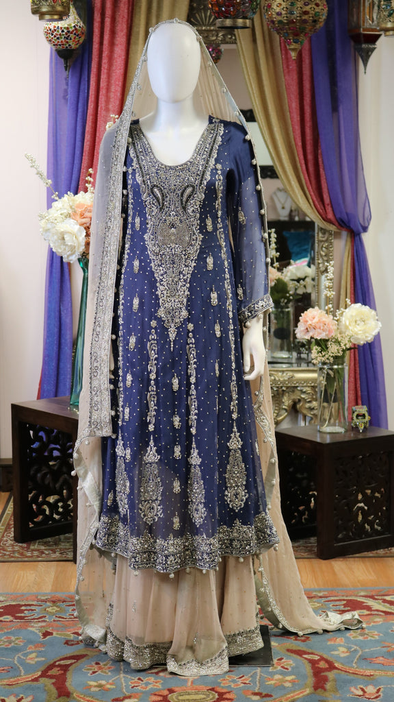 Blue & Beige with Silver Work Bridal Gown
