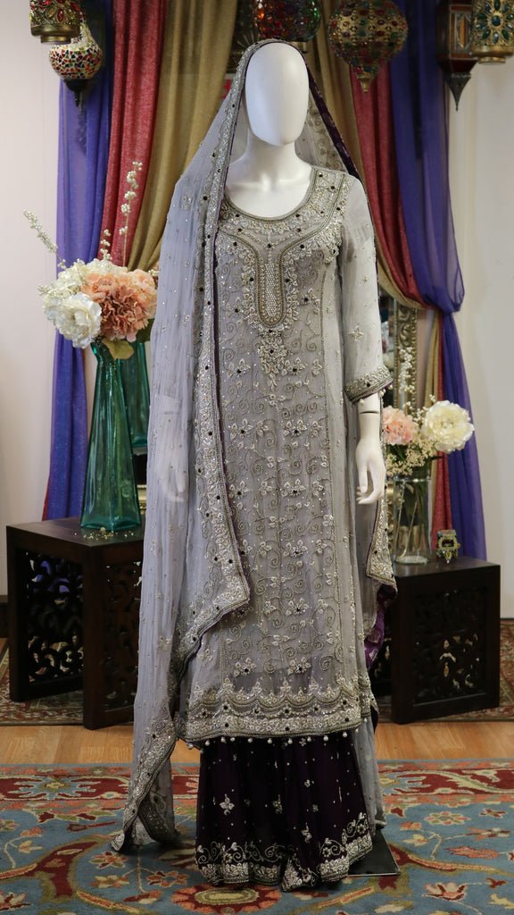 Grey and Deep Purple Bridal Lengha with Silver Work