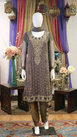 Bronze Brown Shalwar Kameez with Gold Work