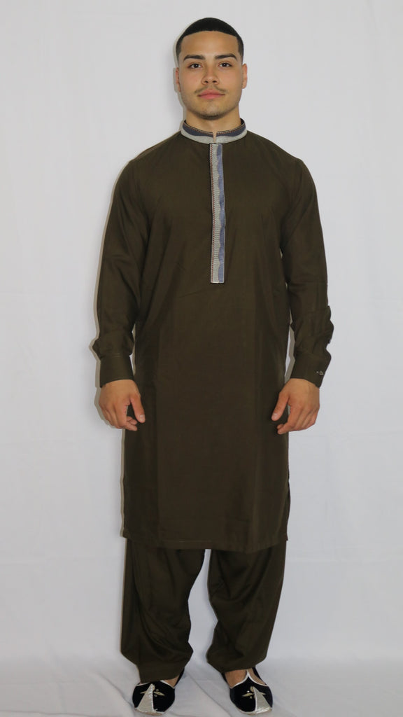 Brown Mens Shalwar Kameez with Embroidered Neckline
