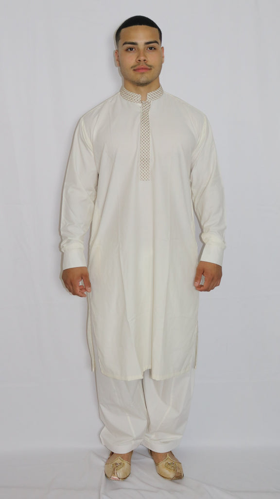 White Mens Shalwar Kameez with Embroidered Neckline