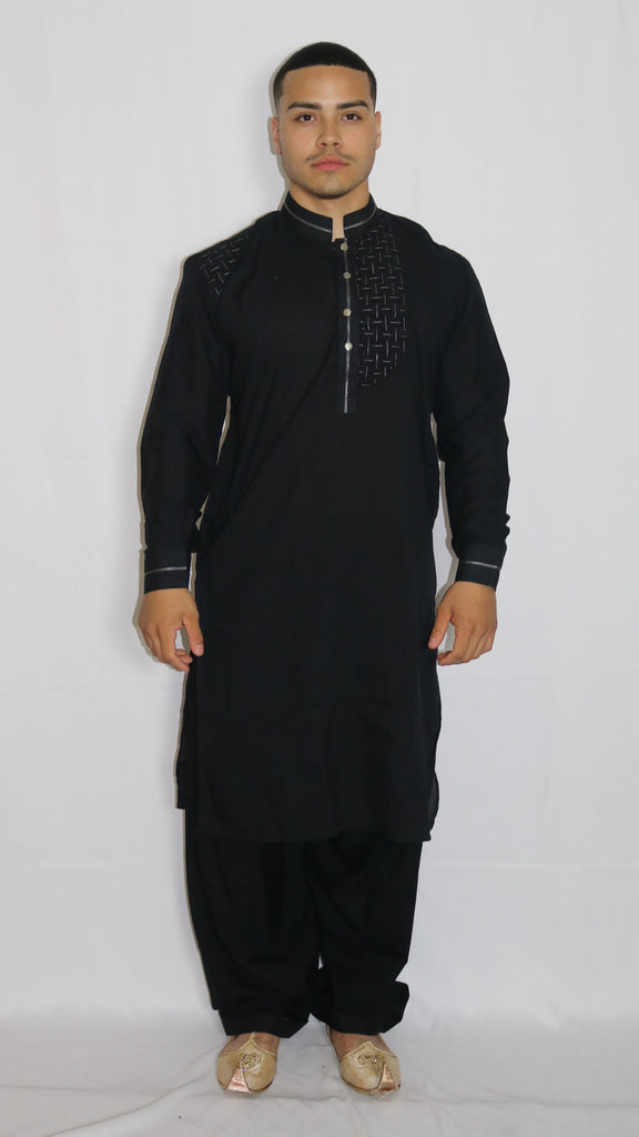 Black Mens Shalwar Kameez with Embroidered Pattern