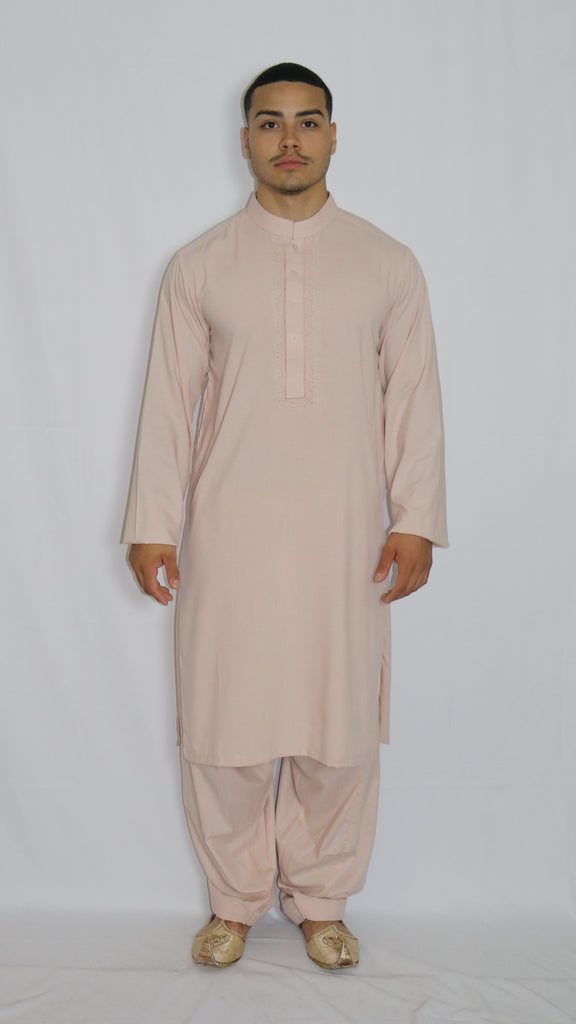 Cream Mens Shalwar Kameez with Embroidered Neckline