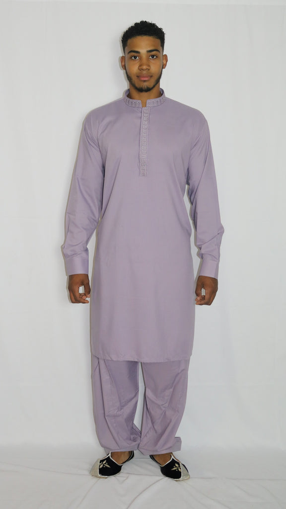 Purple Mens Shalwar Kameez with Embroidered Neckline