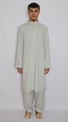 Melon-Green Mens Shalwar Kameez with Embroidered Neckline