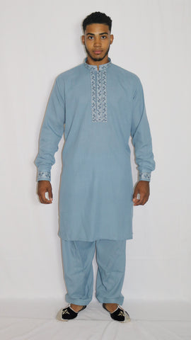 Light-Blue Mens Shalwar Kameez with Embroidered Neckline
