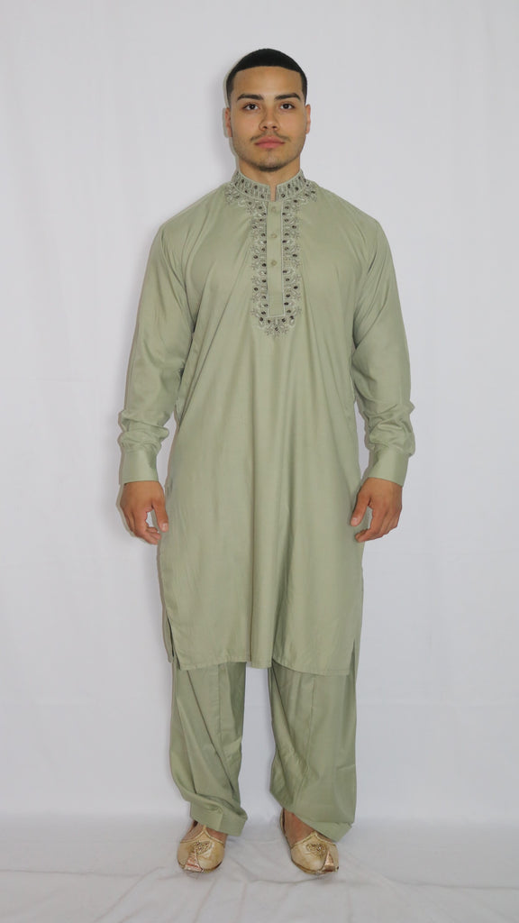 Pear-Green Mens Shalwar Kameez with Embroidered Neckline