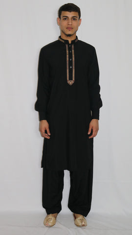 Black Mens Shalwar Kameez with Embroidered Neckline