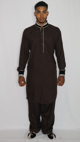 Brown Mens Shalwar Kameez with Embroidered Neckline & Cuffs