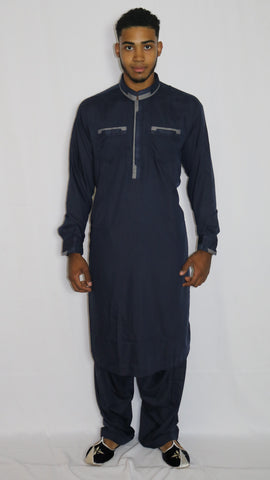 Blue Mens Shalwar Kameez with Embroidered Neckline & Front Pockets