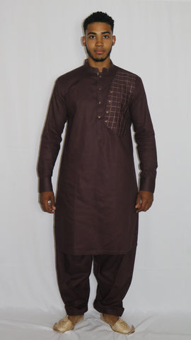 Burgundy Mens Shalwar Kameez with Embroidered Pattern