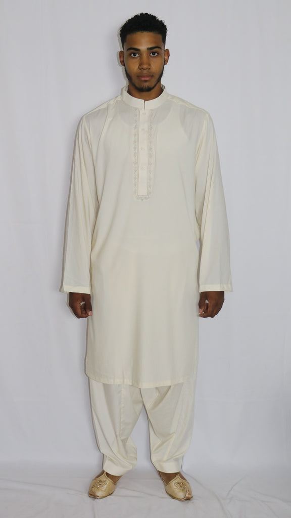 Off-White Mens Shalwar Kameez with Embroidered Neckline