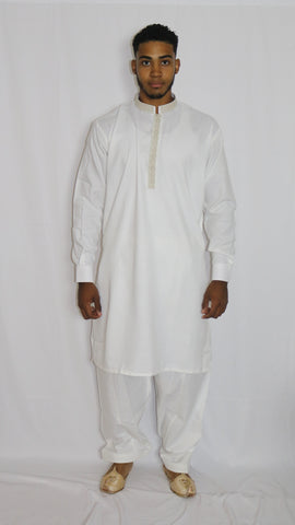 White Shalwar Mens Kameez with Embroidered Neckline
