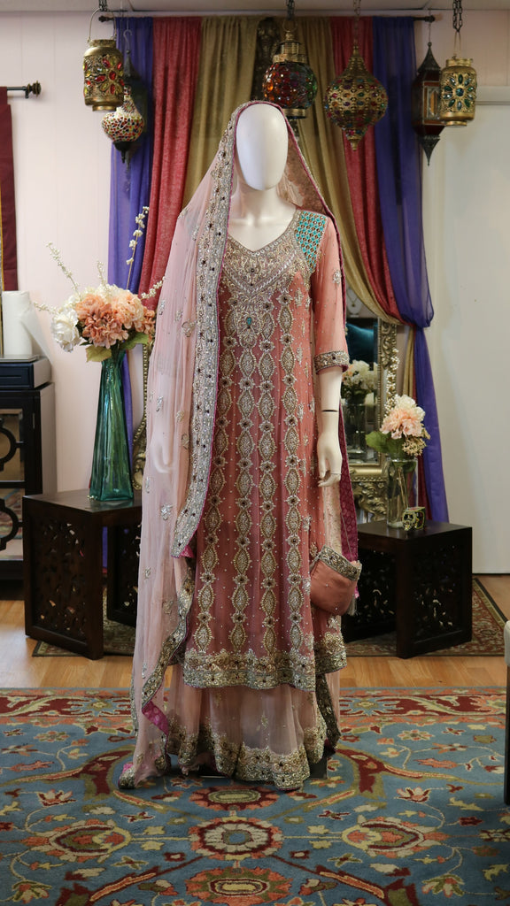 Pink with a Hint of Mint Lengha
