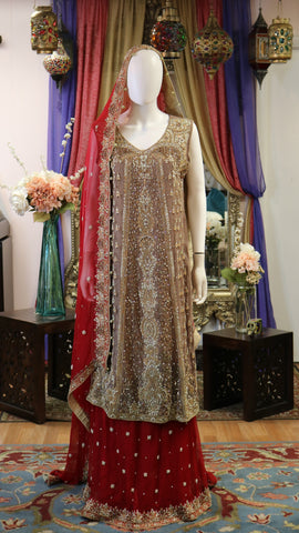 Light Brown and Red Bridal Lengha