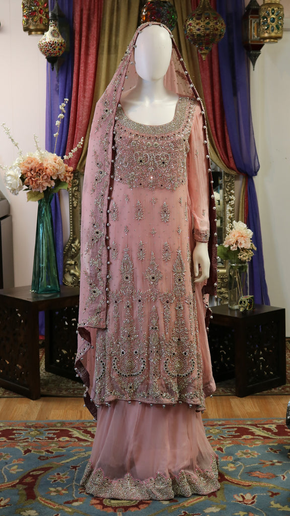 Tea Pink and Silver Bridal Lengha