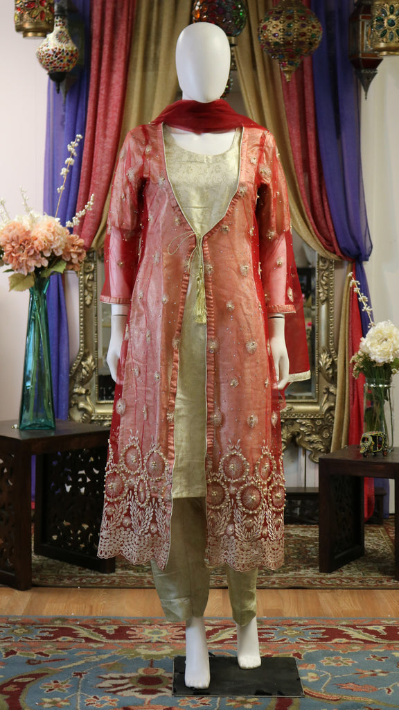 Red and Tan Net Gown with Pearl Work