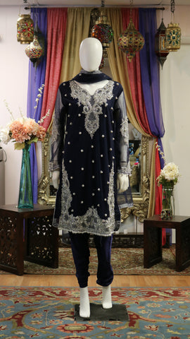 Navy Blue and Silver Shalwar Kameez