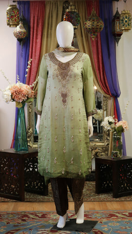 Light Green & Gold Shalwar Kameez