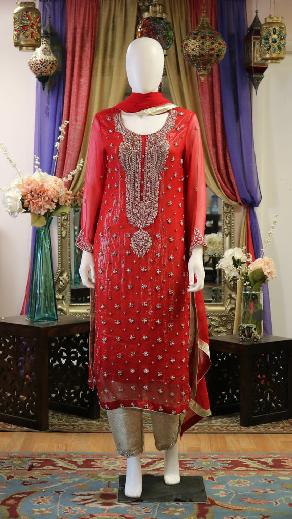 Red & Golden Shalwar Kameez