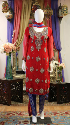 Red & Blue Shalwar Kameez