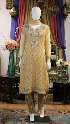 Pale Yellow & Golden Shalwar Kameez