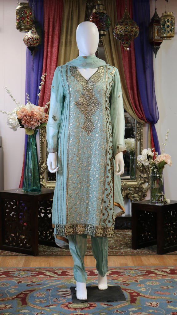 Gold Threaded Work Shalwar Kameez