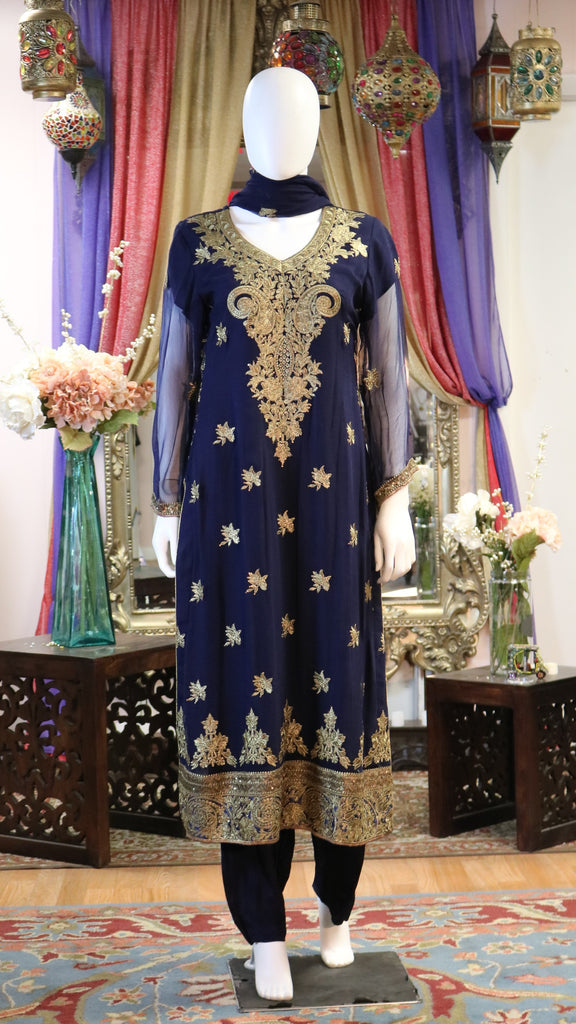Brown & Golden Threaded Shalwar Kameez