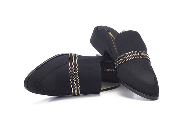 Louise Satin Mule - Black Satin & Gold Hardware