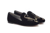 Alexandra Velvet Slipper - Black Velvet & Gold