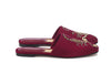 Alexandra Japanese Slide - Burgundy Satin & Gold