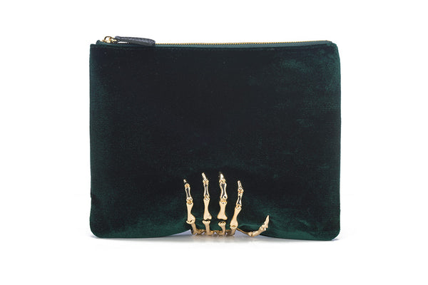 Montana Velvet Clutch in Emerald & Gold