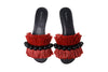 Annika Raffia Slides - Red