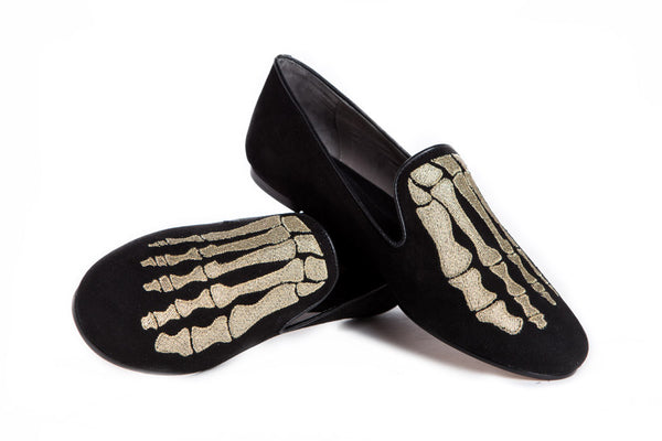 Jem Skull Slipper - Black & Gold