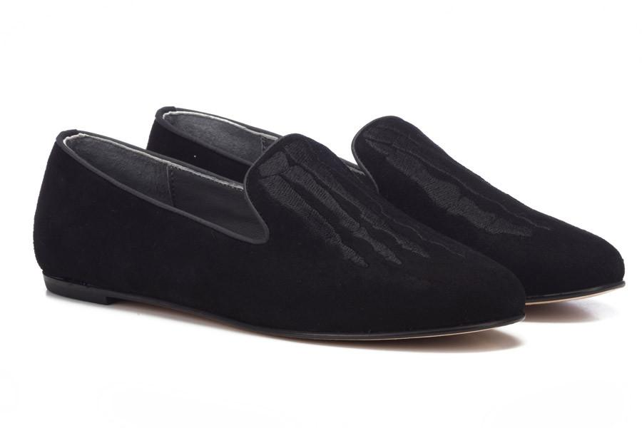 Jem Skull Slipper - Black & Black