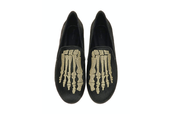 Jem Skull Pony Slipper - Black/Gold