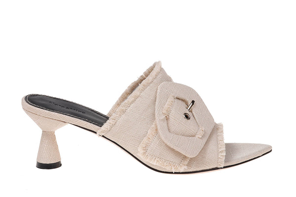 Lily Linen Heel Sandal - Taupe