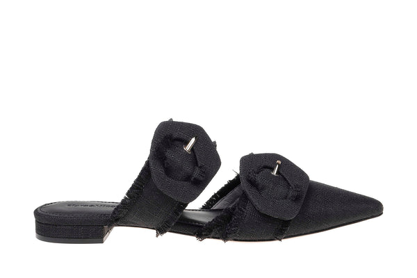 Lulu Linen Pointed Flat - Black