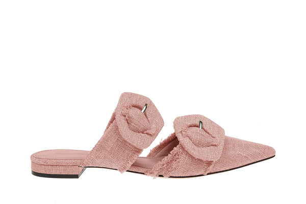 Lulu Linen Pointed Flat - Pink