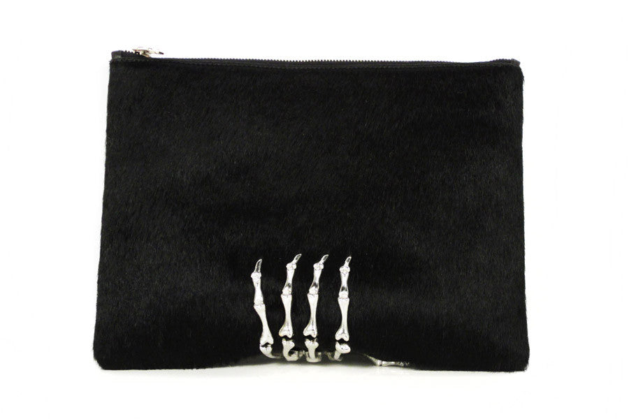 Montana Pony Hair Clutch - Black & Silver