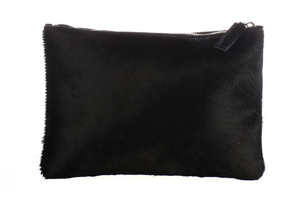 Sophie Spine Pony Clutch - Black & Silver