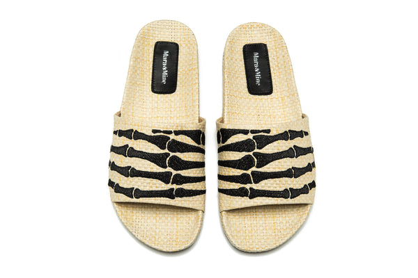 Montana Hand Slides - Natural Raffia / Black