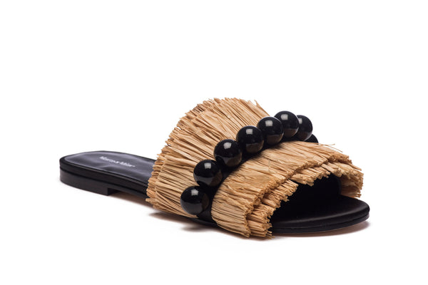 Annika Raffia Slides - Natural